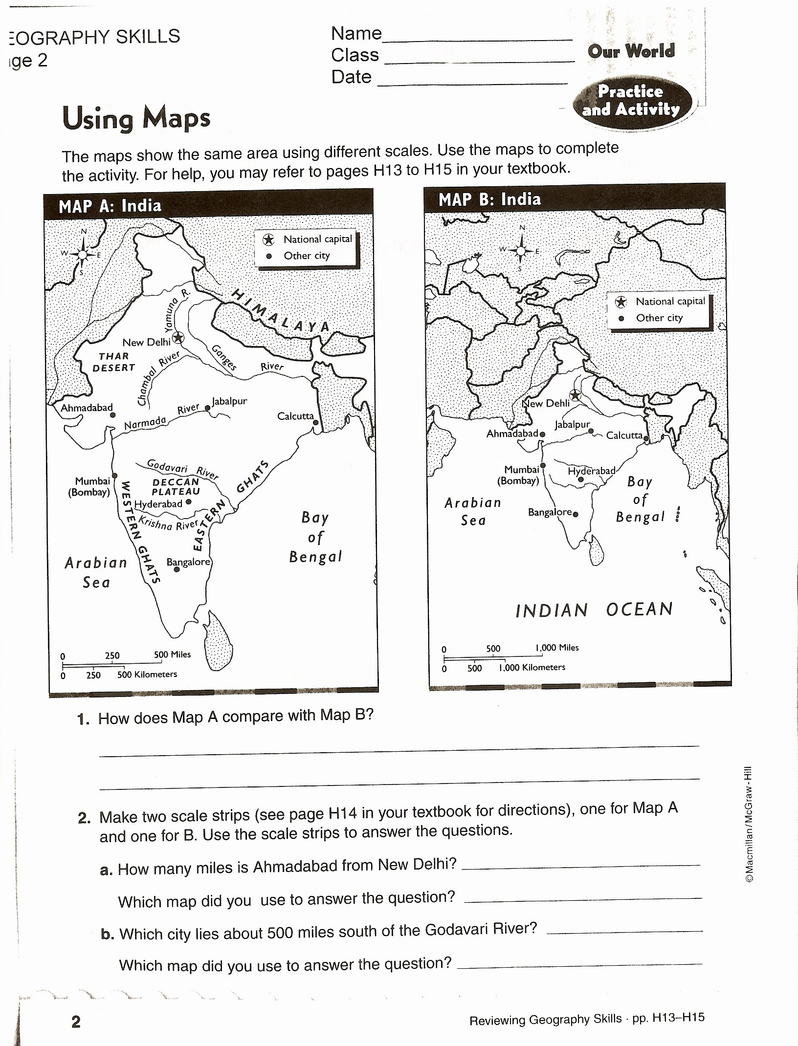 Using A Map Scale Worksheet Best Of social Stu S Skills