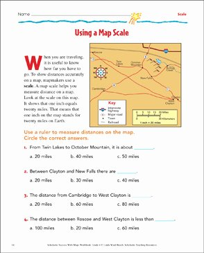 Using A Map Scale Worksheet Luxury Using A Map Scale Grade 4 Map Skills