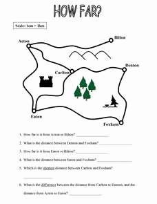 Using A Map Scale Worksheet Unique Map Work How Far Worksheet for 4th 5th Grade