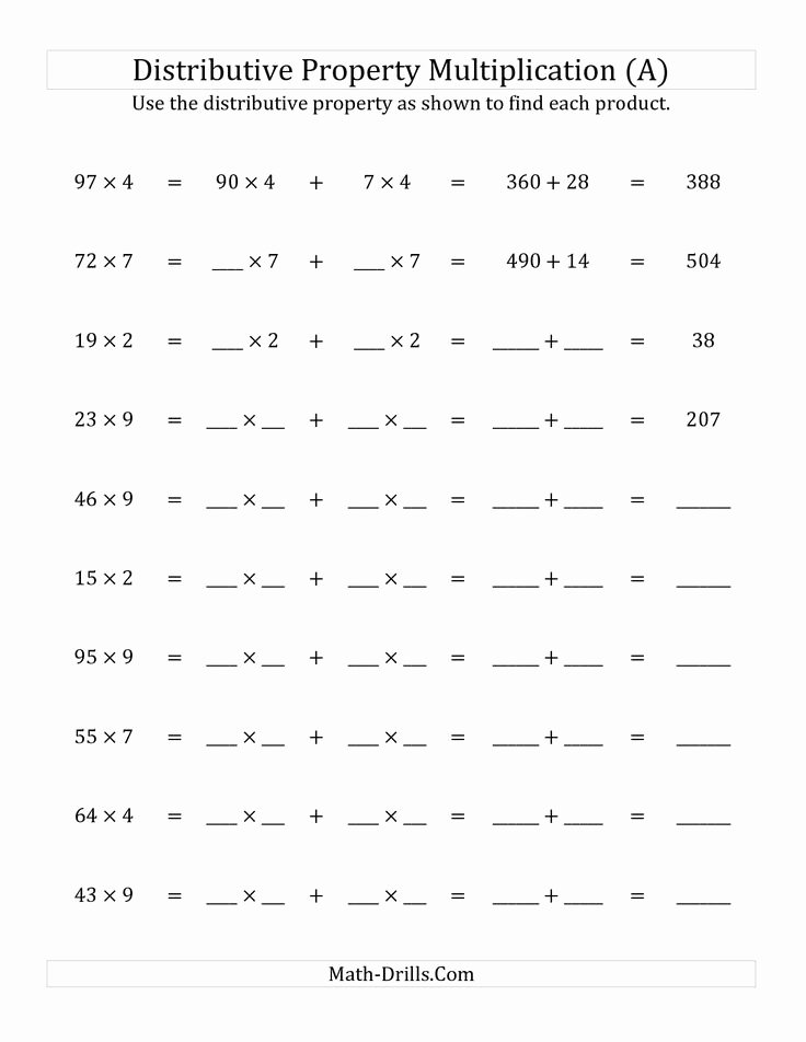 Using the Distributive Property Worksheet Awesome the Multiply 2 Digit by 1 Digit Numbers Using the