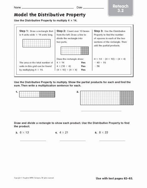 Using the Distributive Property Worksheet Beautiful Model the Distributive Property Reteach Worksheet for 4th