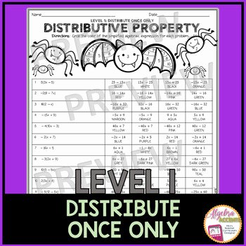 Using the Distributive Property Worksheet Lovely Halloween Algebra Simplifying Expressions Using the
