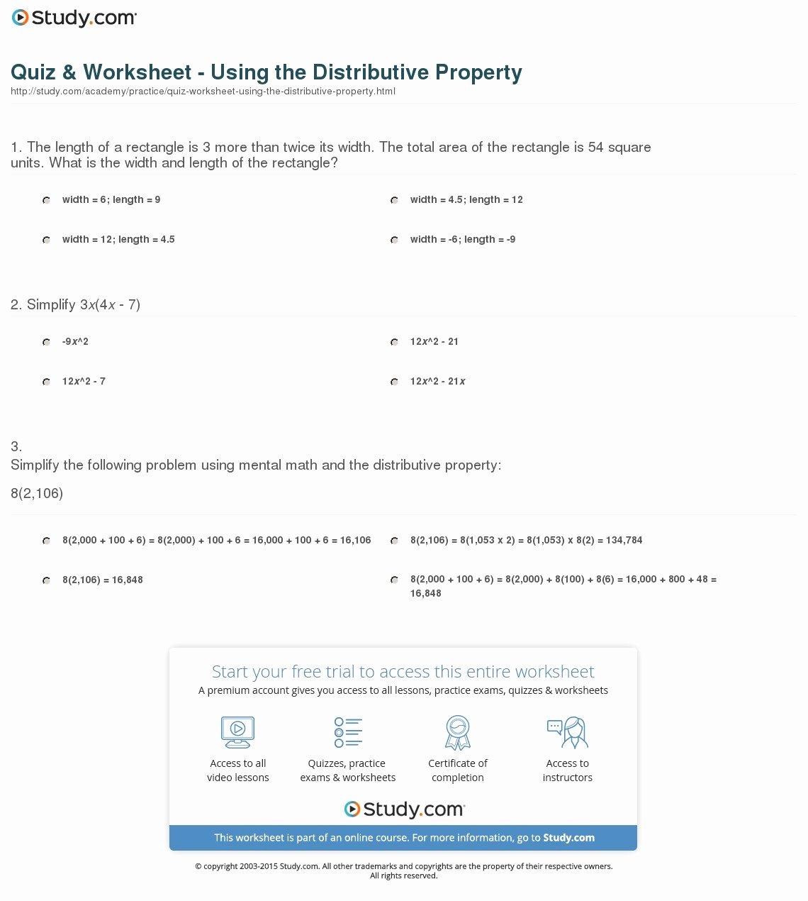 Using the Distributive Property Worksheet Lovely Trigonometric Ratios Worksheet Lesson 8 2 Answers