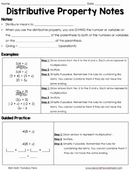 Using the Distributive Property Worksheet New Distributive Property Coloring Page with Integers by