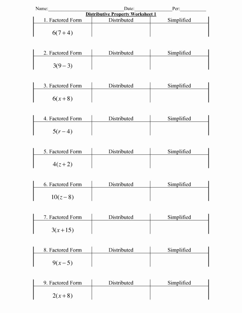 Using the Distributive Property Worksheet Unique Homework Worksheets Chapter 1 Worksheet Mogenk Paper Works