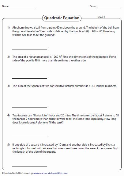 Using the Quadratic formula Worksheet Best Of Quadratic Equation Worksheets