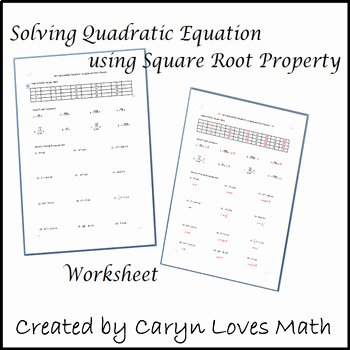 Using the Quadratic formula Worksheet Fresh solving Quadratic Equations Using Square Root Method
