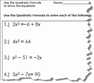 Using the Quadratic formula Worksheet Fresh Use the Quadratic formula to solve the Equations