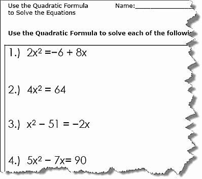 Using the Quadratic formula Worksheet Fresh Use the Quadratic formula to solve the Equations
