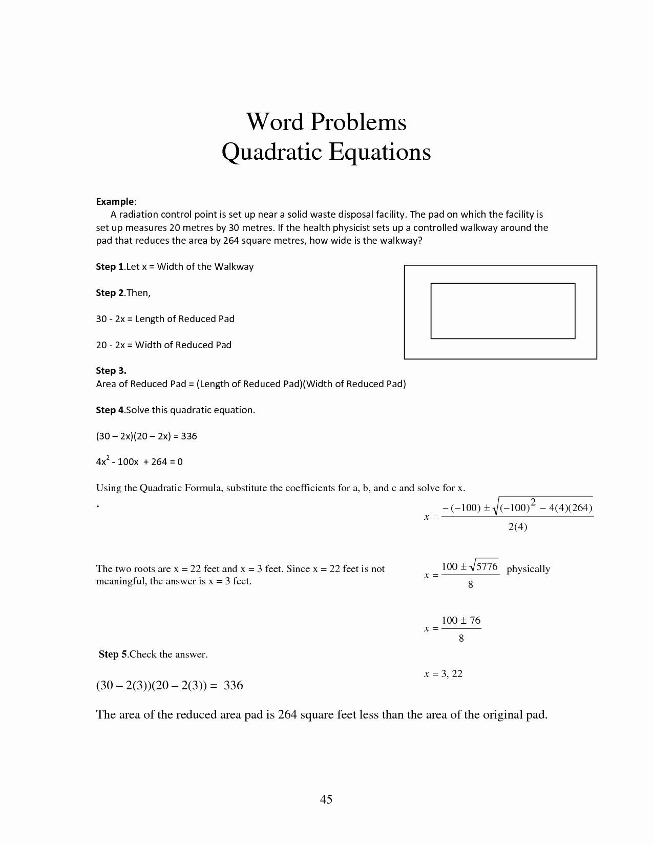 Using the Quadratic formula Worksheet Inspirational Quadratic Equation Word Problems Worksheet