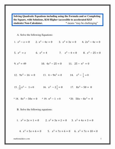 Using the Quadratic formula Worksheet Inspirational Quadratic Equations Ks4 Higher with solutions by