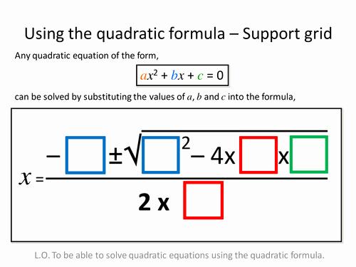 Using the Quadratic formula Worksheet Lovely Quadratic formula Differentiated Worksheets by Zbrearley