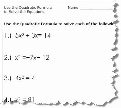 Using the Quadratic formula Worksheet Lovely Use the Quadratic formula to solve the Equations