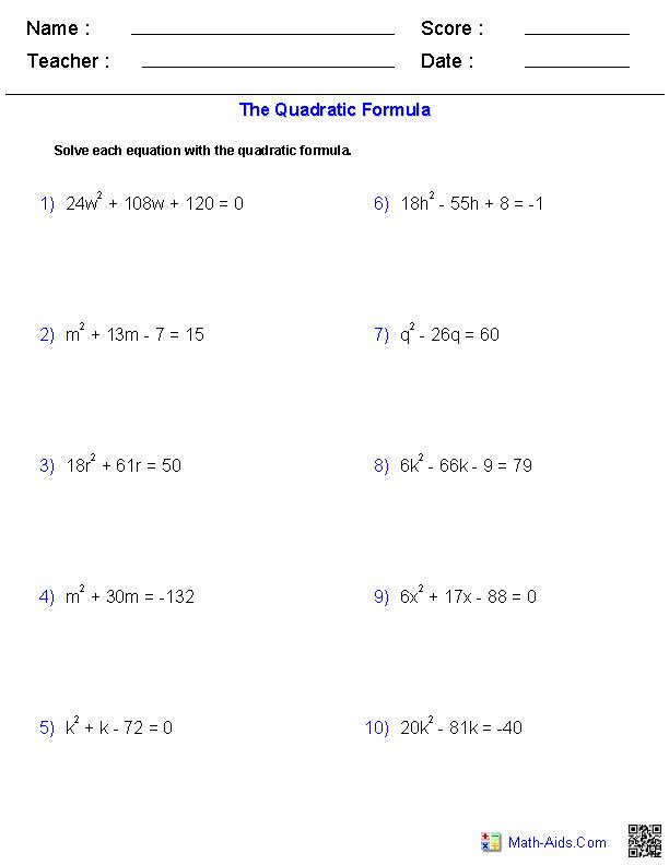 Using the Quadratic formula Worksheet Luxury Algebra 1 Worksheets