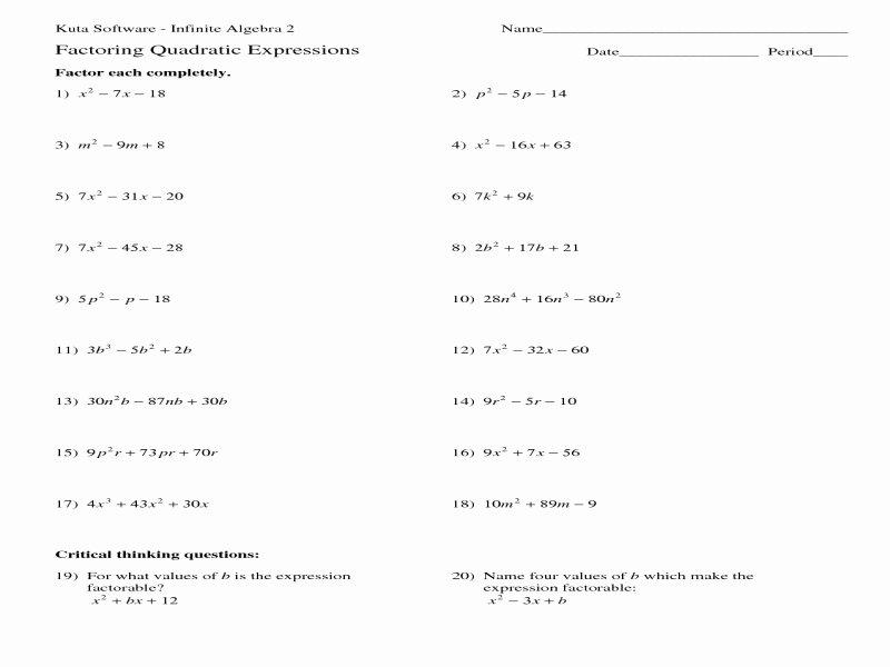 Using the Quadratic formula Worksheet New Quadratic formula Worksheet with Answers Free Printable