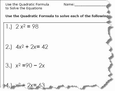 Using the Quadratic formula Worksheet New Use the Quadratic formula to solve the Equations