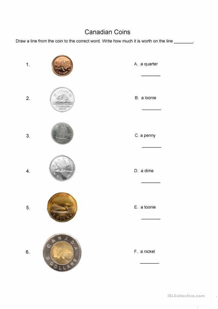 Values Of Coins Worksheet Beautiful 30 Identifying Coins and Coin Values Worksheets