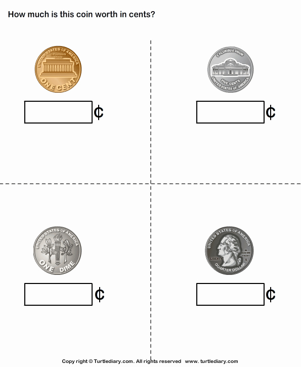Values Of Coins Worksheet Best Of Name and Value Of Coins Turtlediary