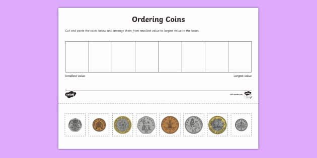 Values Of Coins Worksheet Elegant Coin ordering Cut and Paste Worksheet Worksheet