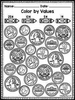 Values Of Coins Worksheet Elegant Identifying Coins and Values Coloring Worksheets