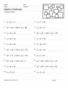 Variables and Expressions Worksheet Answers Awesome Algebra Challenge E Variable Equations Worksheet for