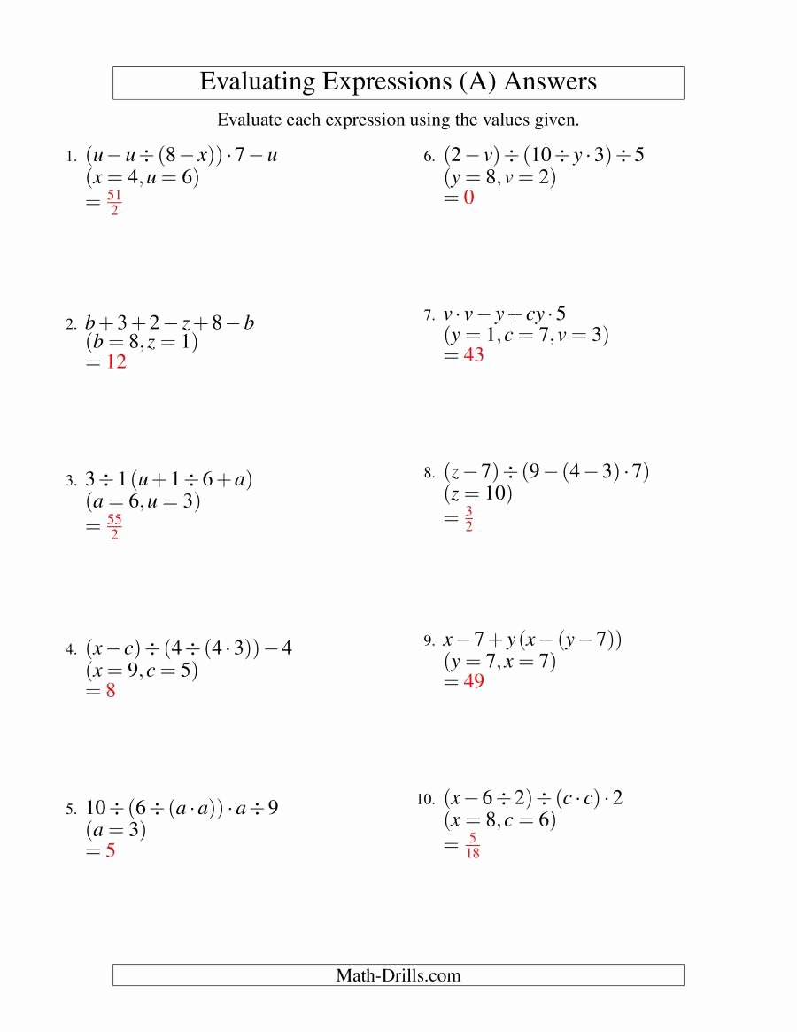 Variables and Expressions Worksheet Answers Elegant Evaluating Five Step Algebraic Expressions with Three