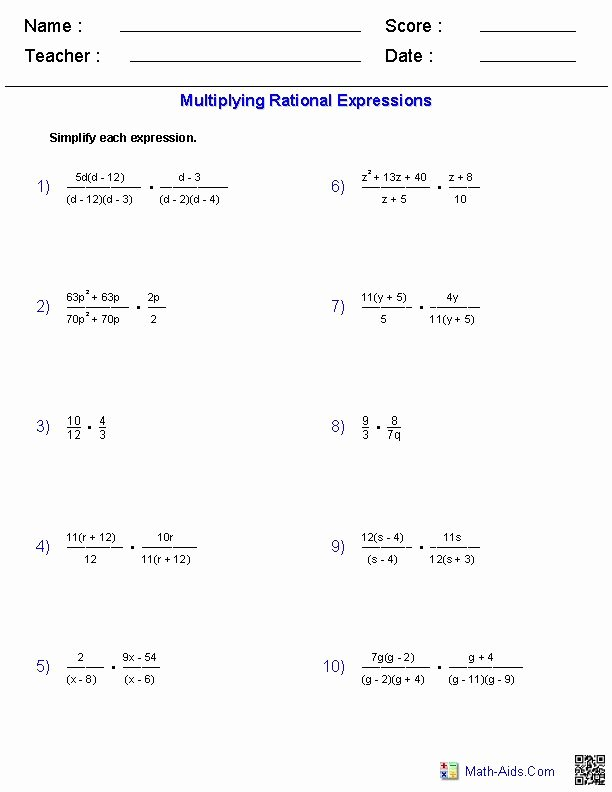 Variables and Expressions Worksheet Answers New Multiplying Rational Expressions Worksheets