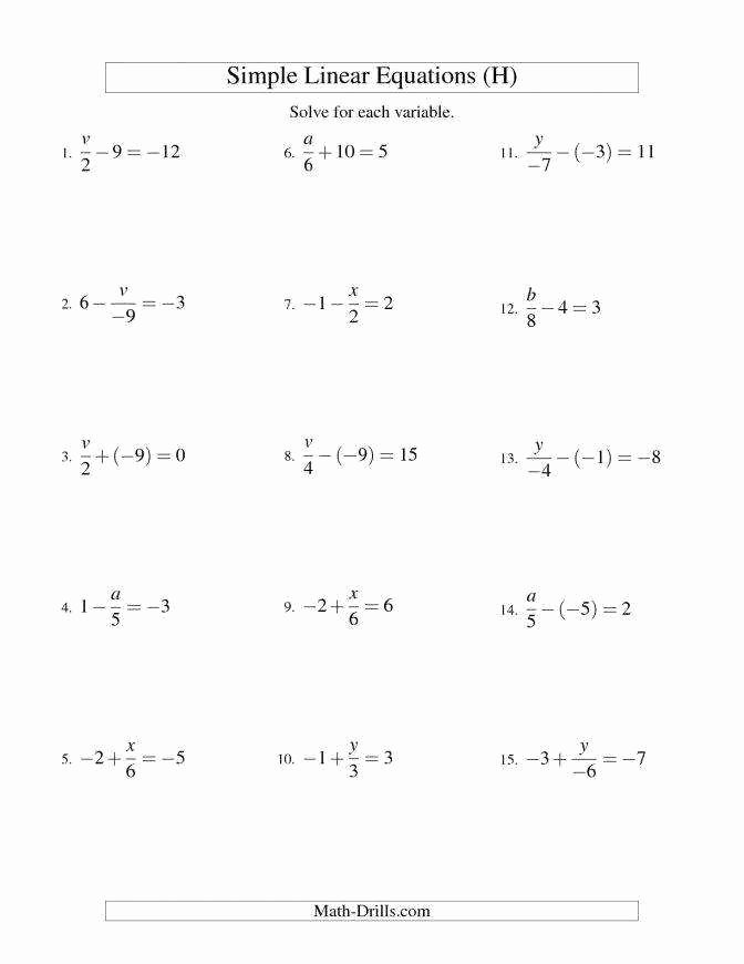 Variables and Expressions Worksheet Answers New solving Equations with Variables Both Sides Worksheet
