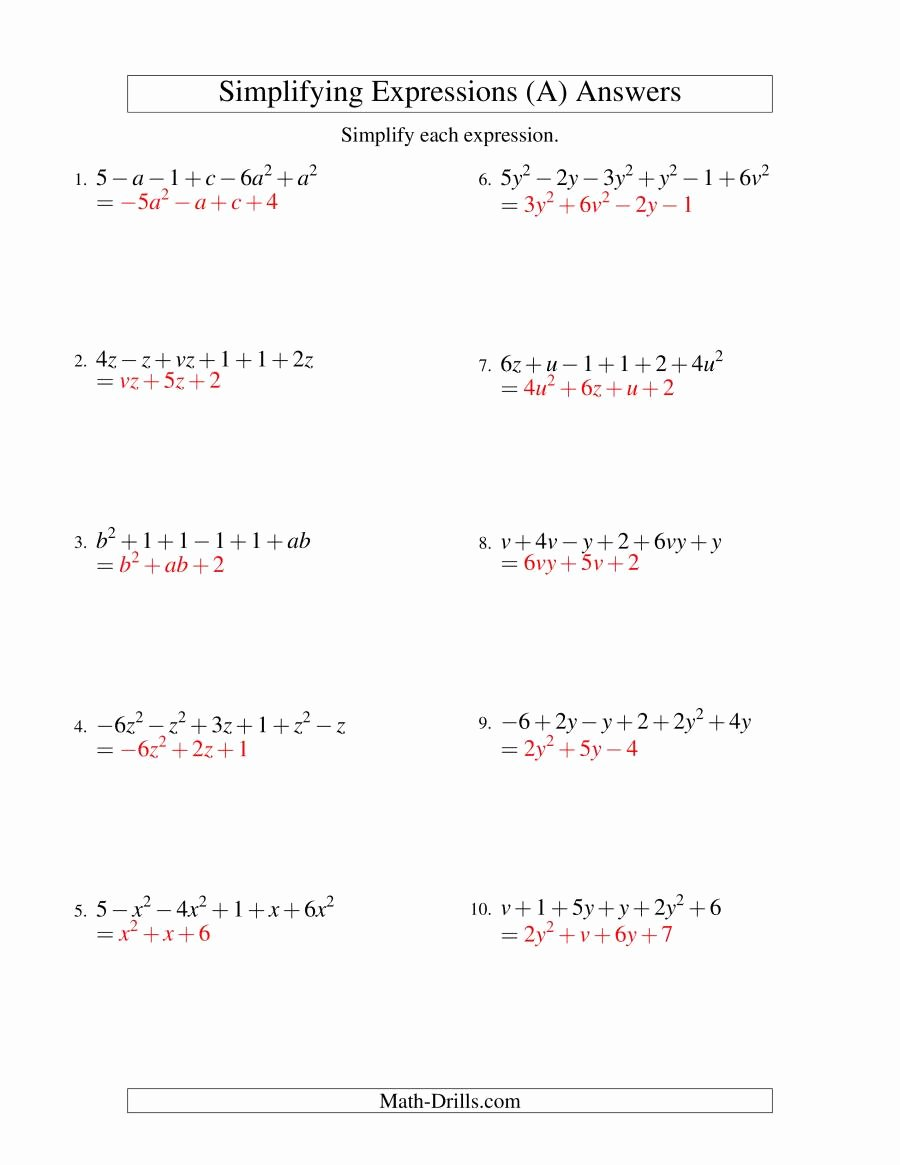 Variables and Expressions Worksheet Answers Unique Simplifying Algebraic Expressions with Two Variables and