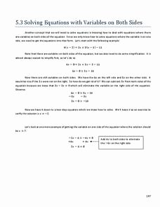 Variables On Both Sides Worksheet Best Of solving Equations with Variables On Both Sides 8th 9th