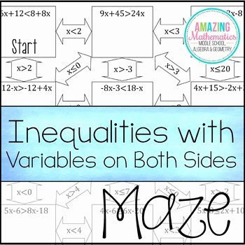 Variables On Both Sides Worksheet Elegant Inequalities with Variables On Both Sides Maze Worksheet