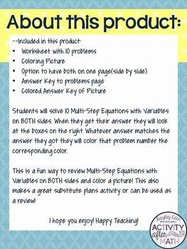Variables On Both Sides Worksheet Elegant Multi Step Equations with Variables On Both Sides Color by