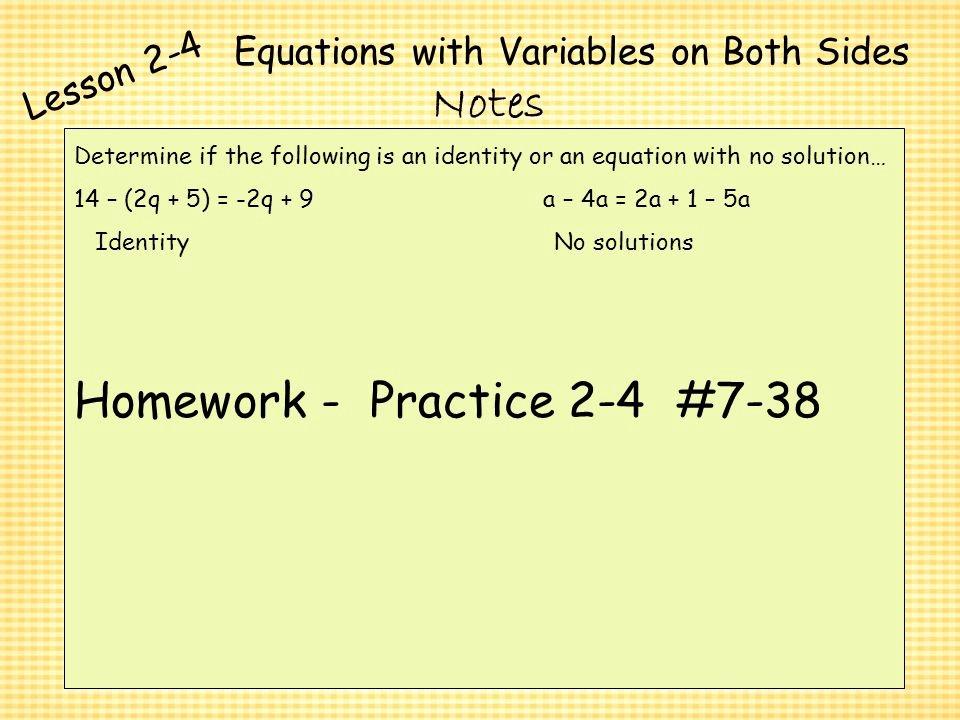 Variables On Both Sides Worksheet Elegant Practice 2 4 Variables and Equations Tessshebaylo