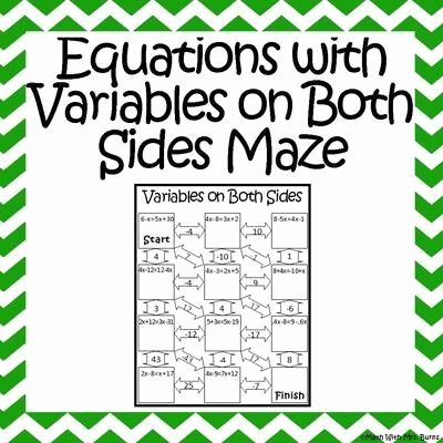 Variables On Both Sides Worksheet Fresh Equations with Variables On Both Sides Maze From Amazing