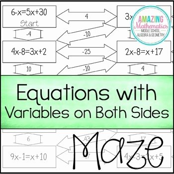 Variables On Both Sides Worksheet Inspirational Equations with Variables On Both Sides Maze by Amazing