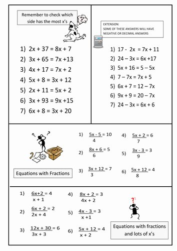 Variables On Both Sides Worksheet Luxury Equations with Variables Both Sides Worksheet