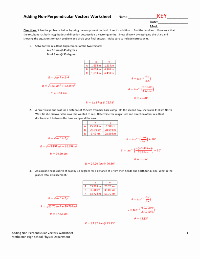 Vector Addition Worksheet with Answers New Vector Addition Worksheet 1 Answer Key – Festival Collections