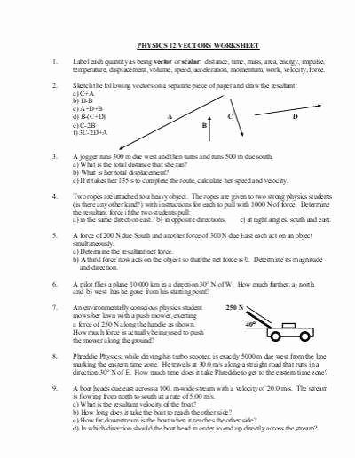 Vector Worksheet Physics Answers Best Of Physics Worksheets