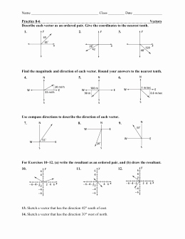 Vector Worksheet Physics Answers Luxury Physics 11 Trignometry Review and Vector Addition