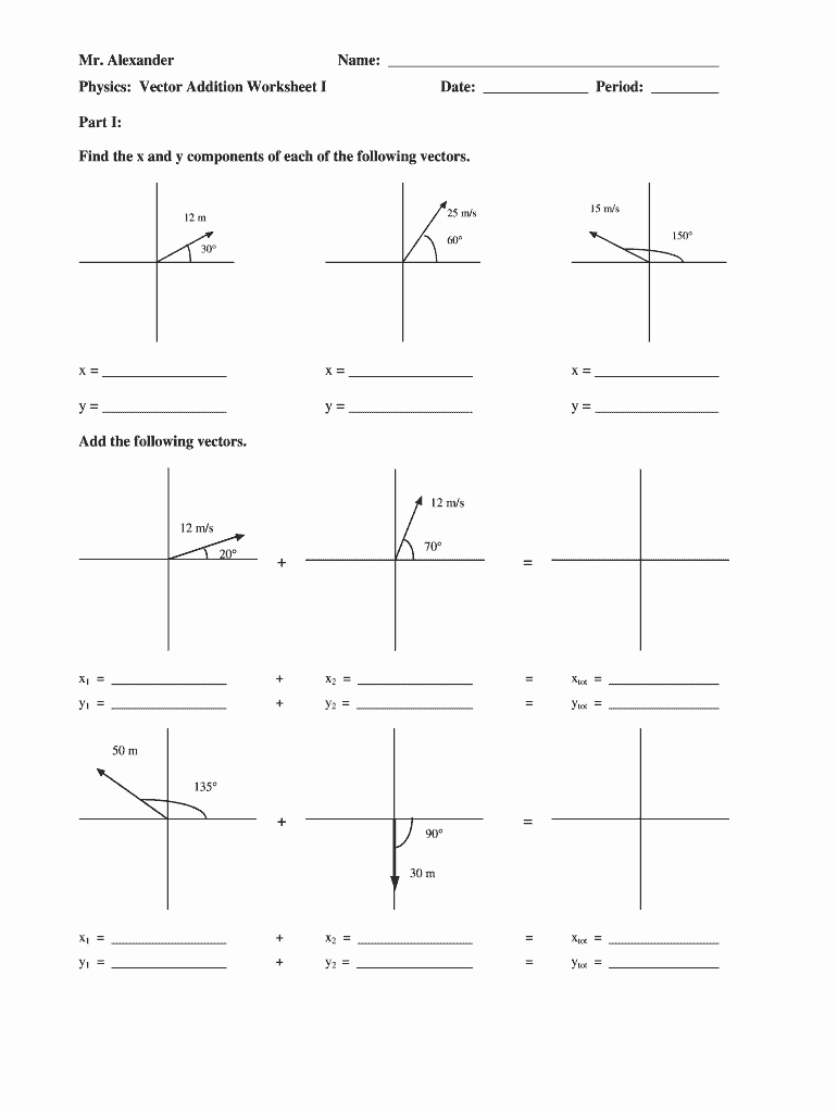 Vector Worksheet Physics Answers New Mr Alexander Physics Vector Addition Worksheet Fill