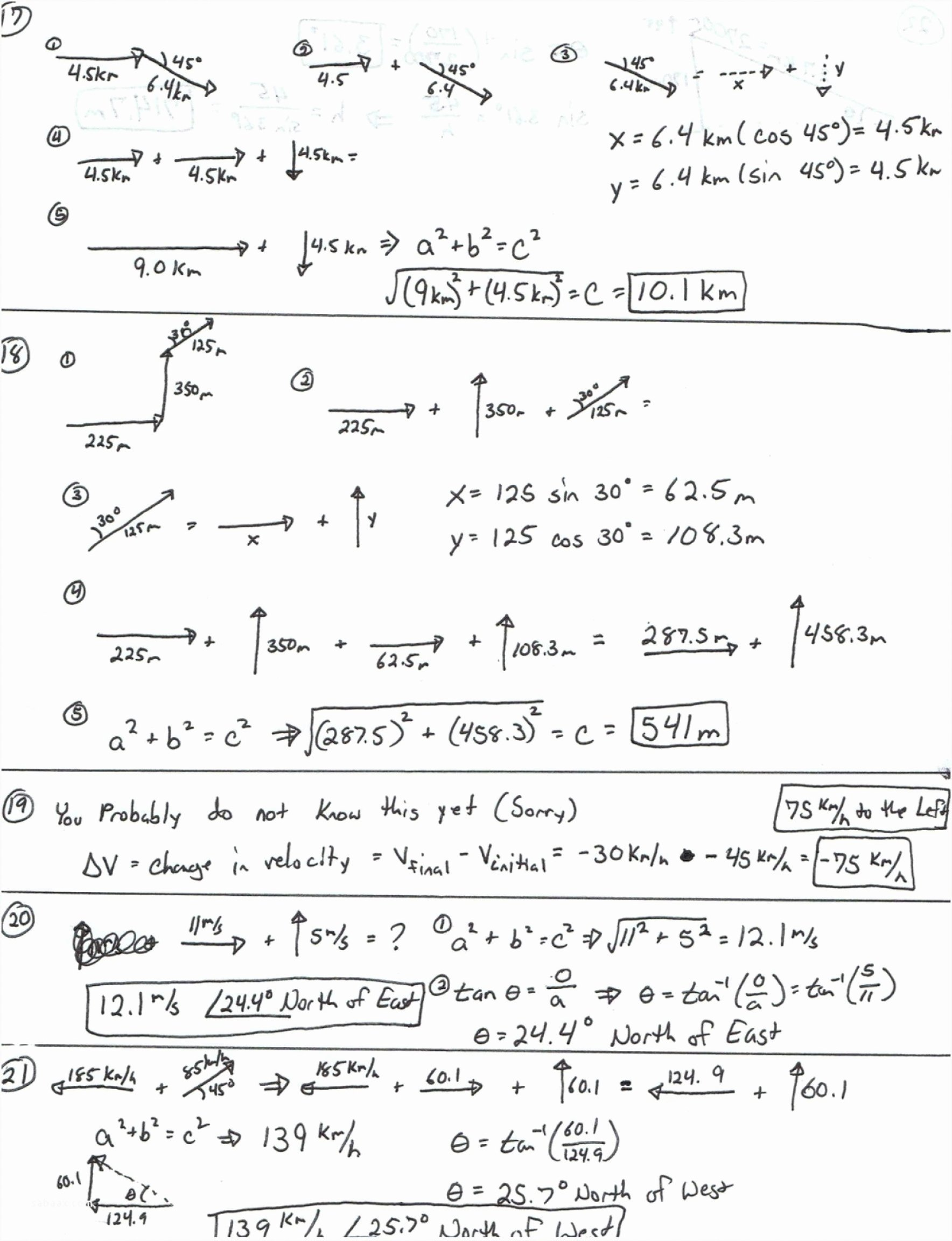 Vector Worksheet Physics Answers New Resultant Vector Worksheet