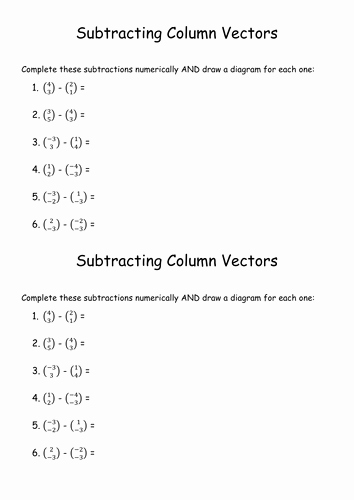 Vectors Worksheet with Answers Elegant Subtraction Of Column Vectors Foundation Level Worksheet