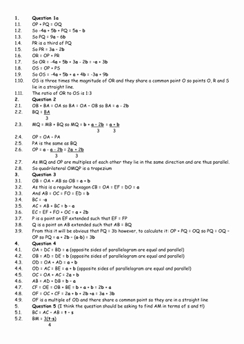 Vectors Worksheet with Answers Lovely Answers for Vectors Worksheet by Seekaitee Teaching
