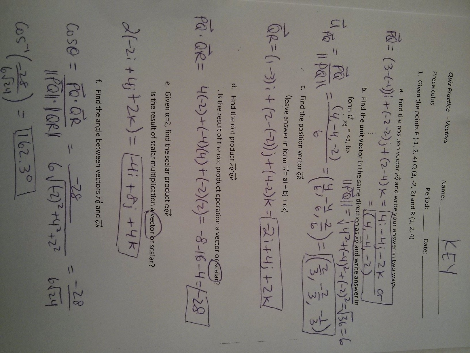 Vectors Worksheet with Answers Luxury Precalculus Mrs Baartmans