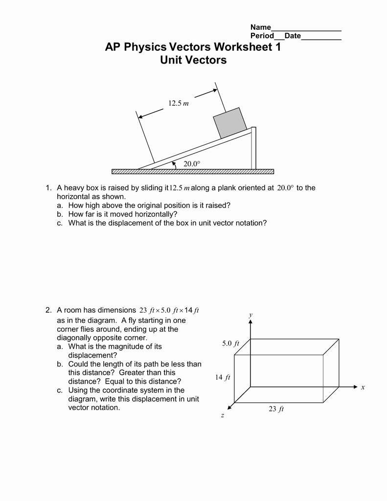Vectors Worksheet with Answers Luxury Vector Worksheet Physics Math Worksheets Mr Alexander