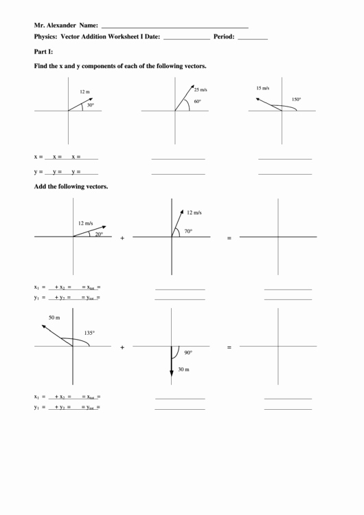 Vectors Worksheet with Answers Unique Vector Ponents and Addition Worksheet Printable Pdf