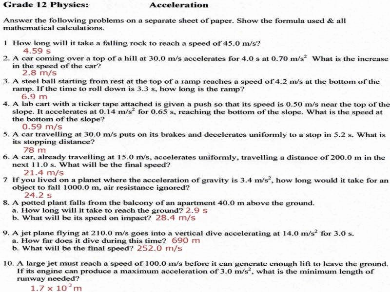 Velocity and Acceleration Calculation Worksheet New Calculating Speed Worksheet