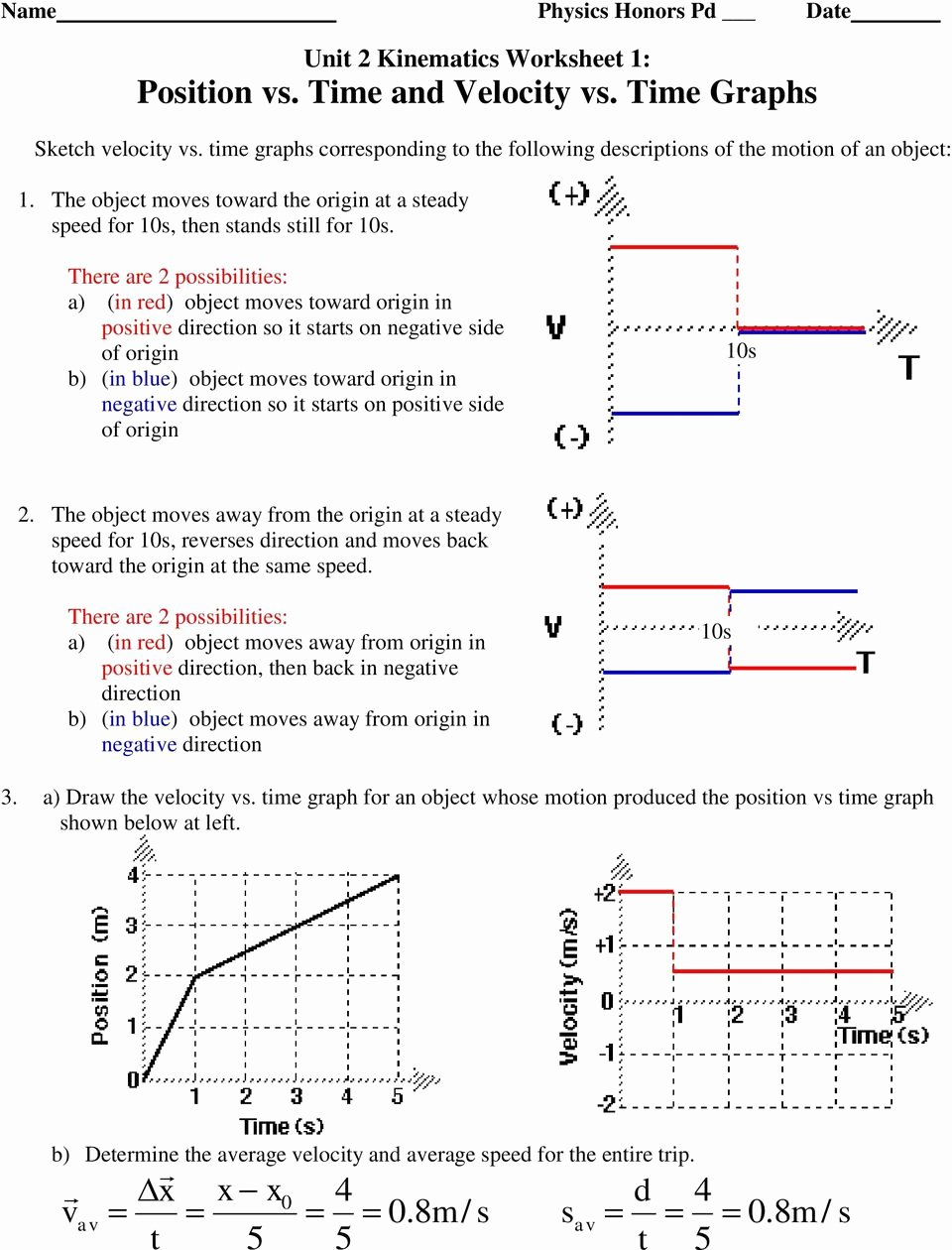 Velocity Time Graph Worksheet Answers Elegant Unit 2 Kinematics Worksheet 1 Position Vs Time and