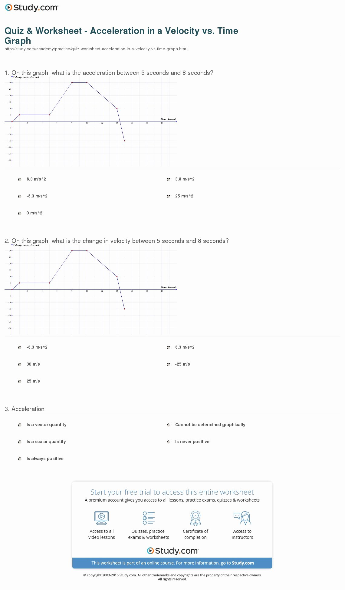 Velocity Time Graph Worksheet Answers Lovely Quiz & Worksheet Acceleration In A Velocity Vs Time