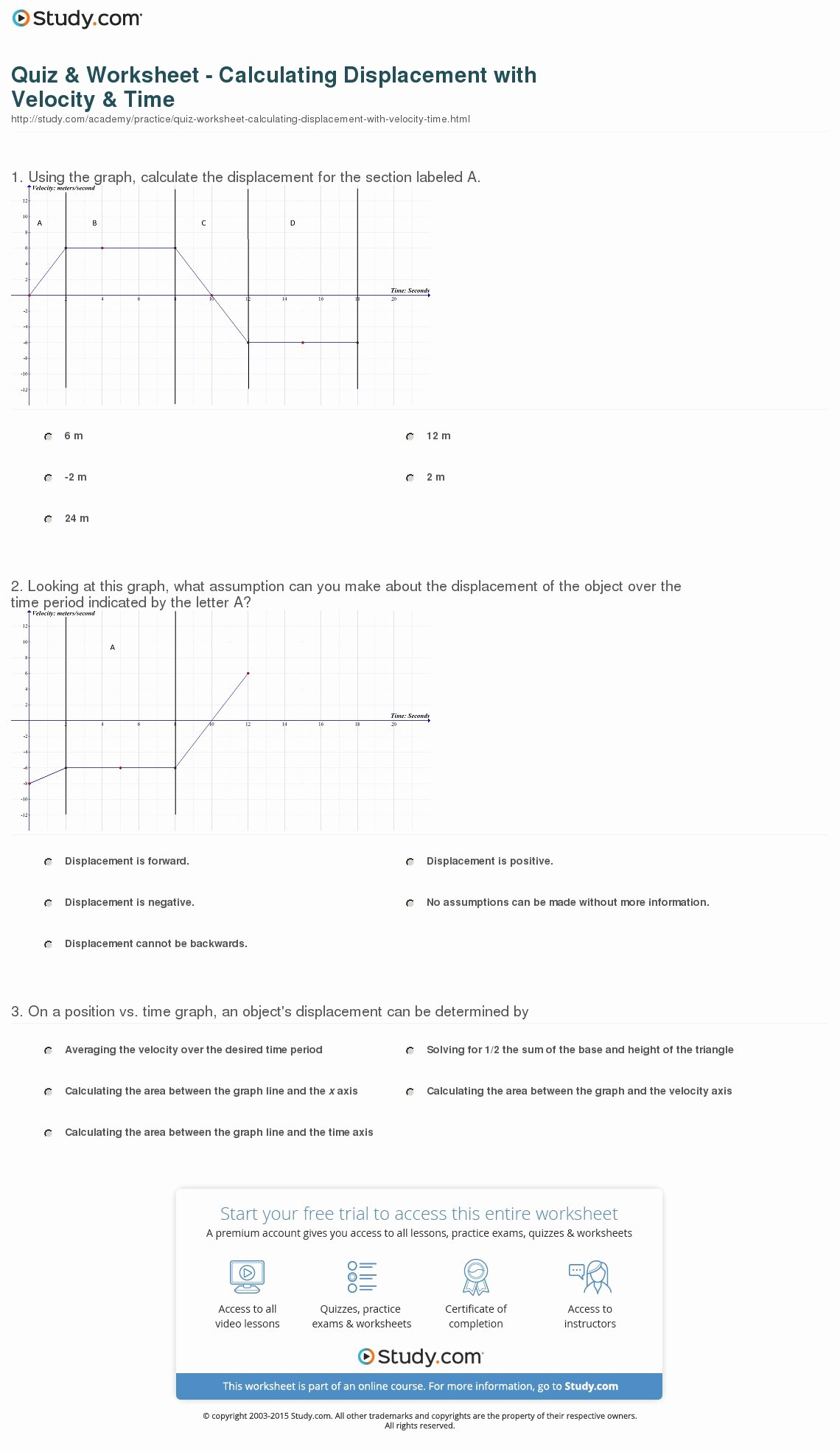 Velocity Time Graph Worksheet Lovely Quiz & Worksheet Calculating Displacement with Velocity